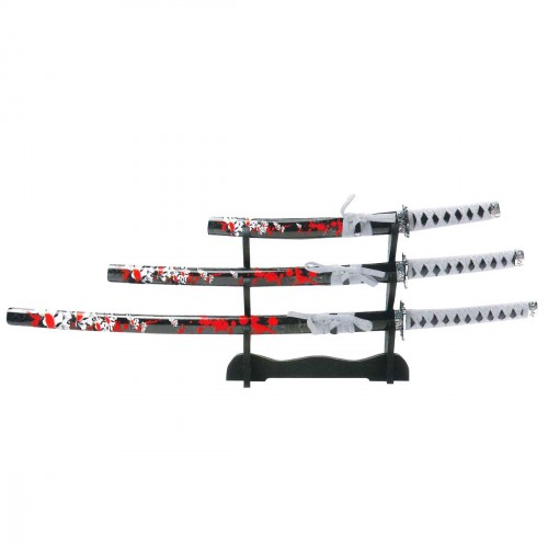 3pcs Katana Set. Red Flowers