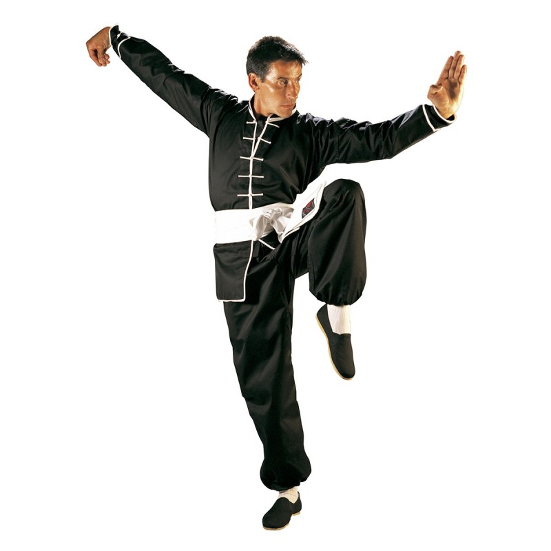 Uniforme Kung Fu. Negro-Ribete Blanco