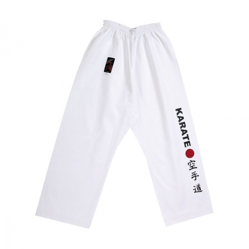 Pantalon Karate-Point Rouge. Blanc.