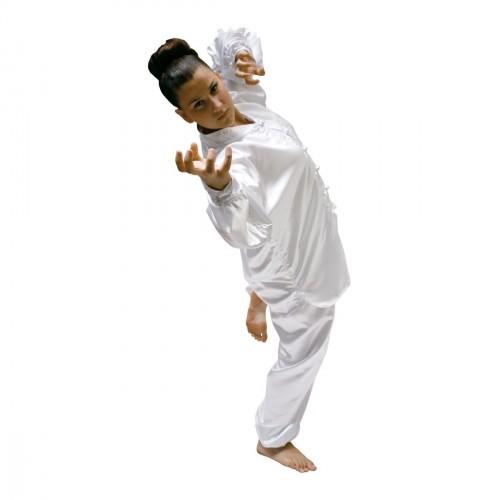 Kimono Kung Fu Saten Blanco Ribete Blanco.