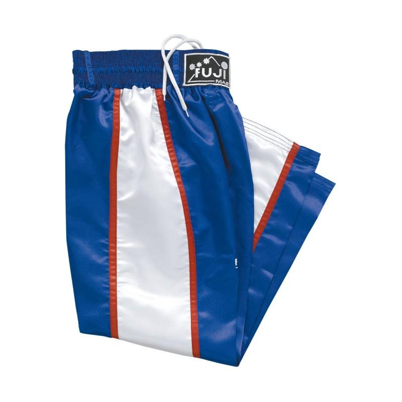 Pantalon Full Satin Bleu Bandes