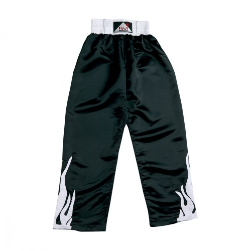 Full Satin Trouser. Black. White Flames.