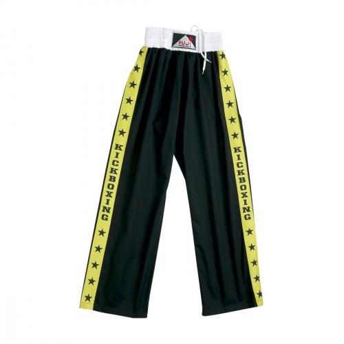 "Full Satin Trouser. Black/Yellow. ""Fuji/Stars Stripes""."