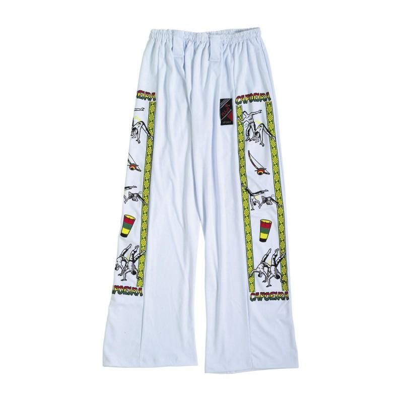 Pantalón Capoeira. Blanco-Franja.