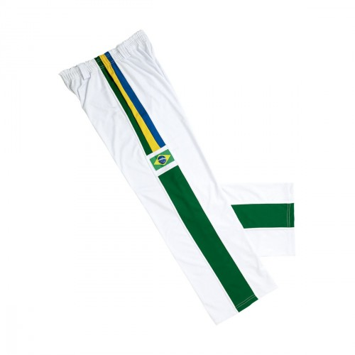Capoeira Trousers. White-stripes with Brasil Patche.