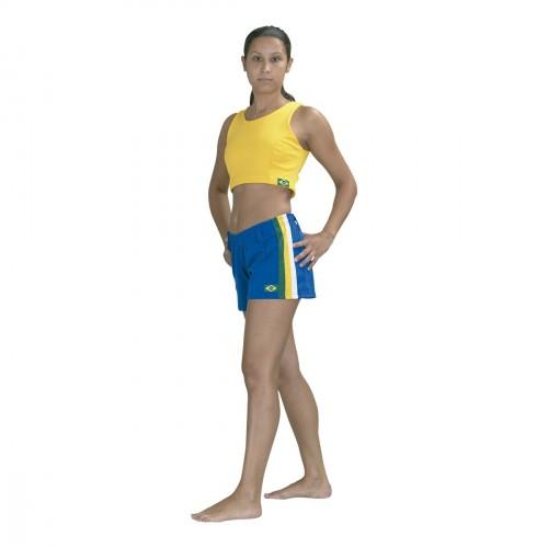 Capoeira Short. Blue, green/ yellow/ white.