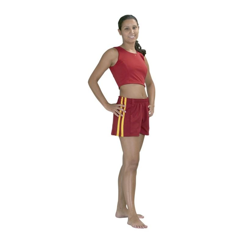 Short Capoeira. Rojo/franja amarilla.