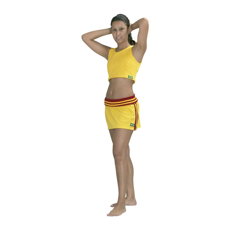 Capoeira Skirt. Yellow with red stripes.