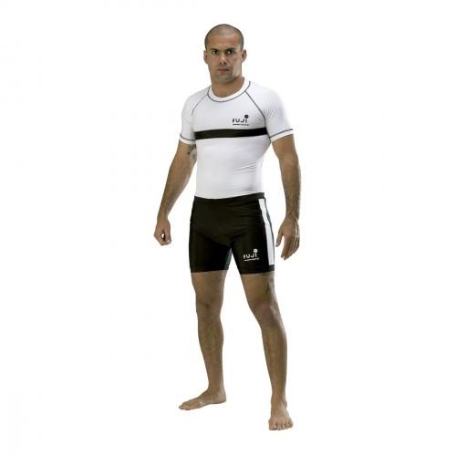 Camiseta Elastano MMA. Blanco con franja.