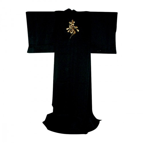 Japanese Kimono. Gold Kotobuki. Satin