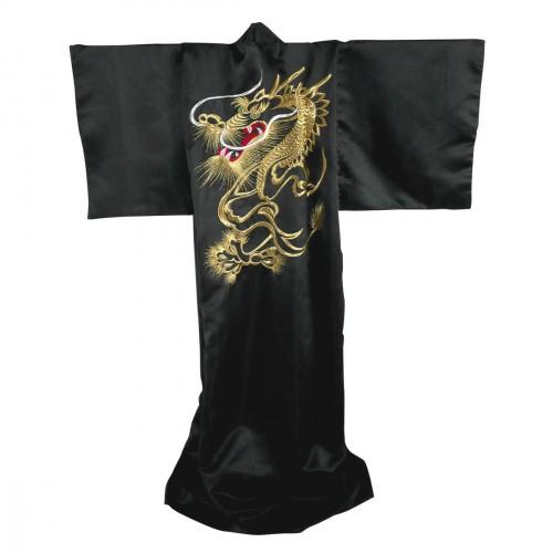 Kimono Japonais. Dragon Brodé or. Polyester