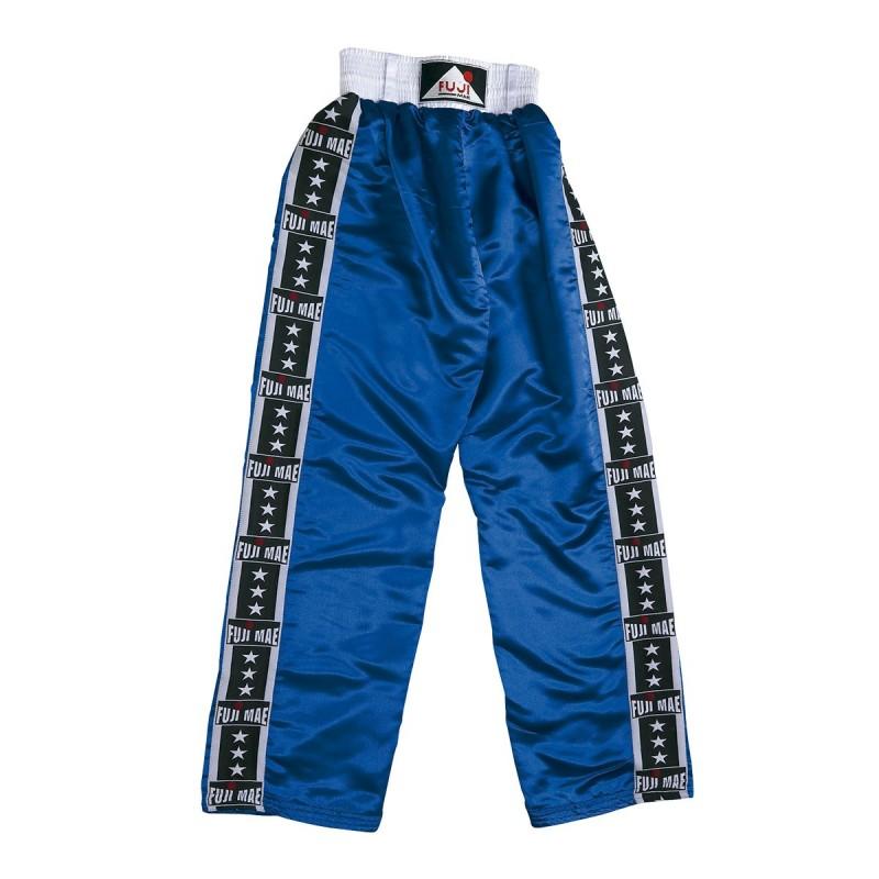 Full Satin Trouser. Blue. 'Fuji-Stripes'.
