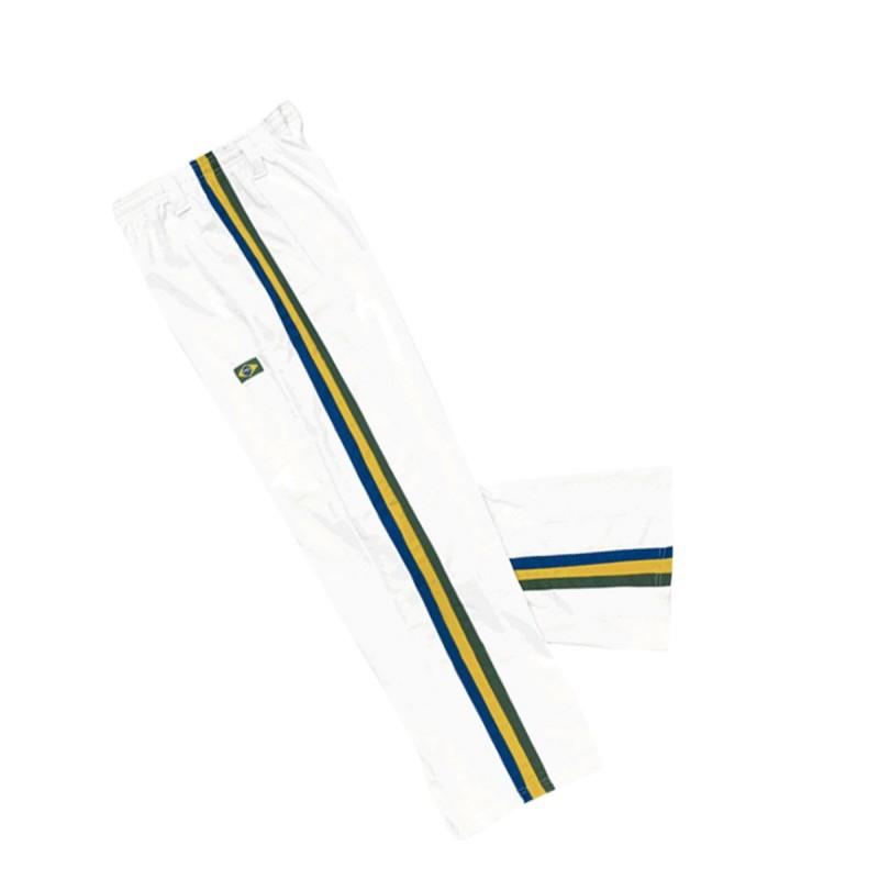 Traditional Capoeira trouser. White - 3 side stripes.