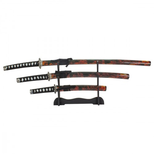 3pcs Katana Set. Flames