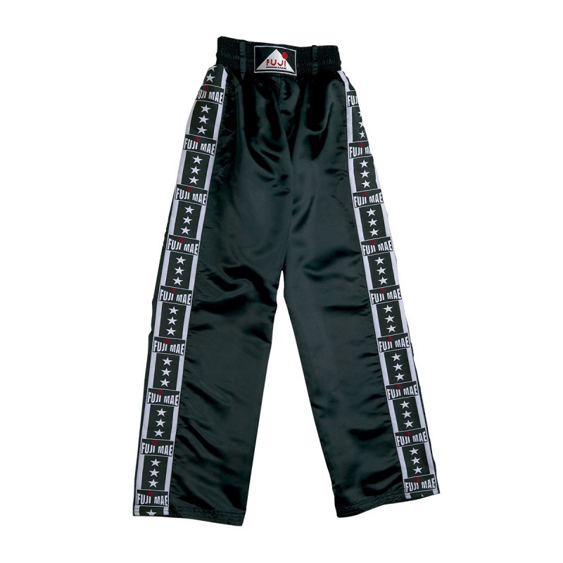 Full Satin Trouser. Black. 'Fuji-Stripes'