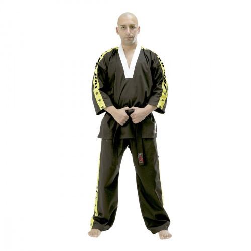 Kick Boxing uniform. Black/Yellow