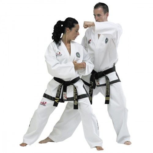 Dobok ITF. Black Belt. Ribbed