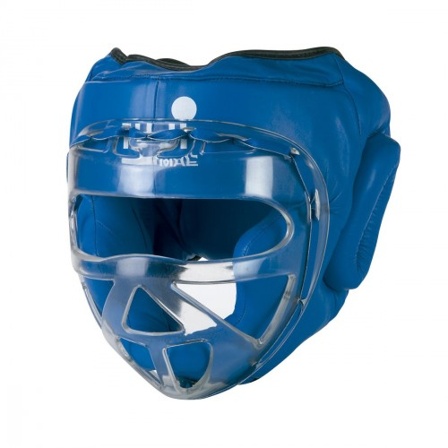 Head Guard with transparent mask. Leather