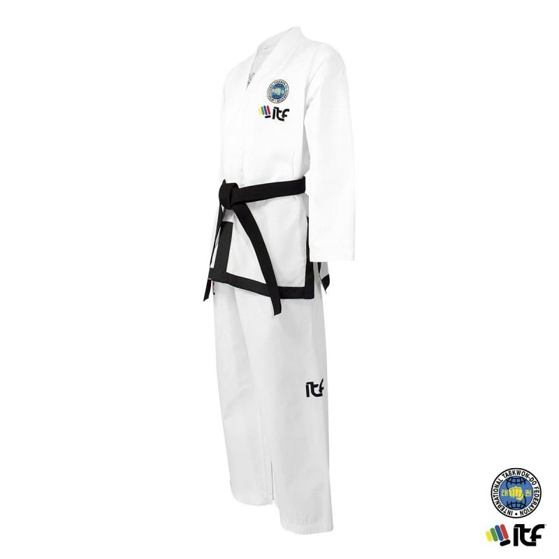 ITF Dobok. Black Belt. Ribbed. Approved