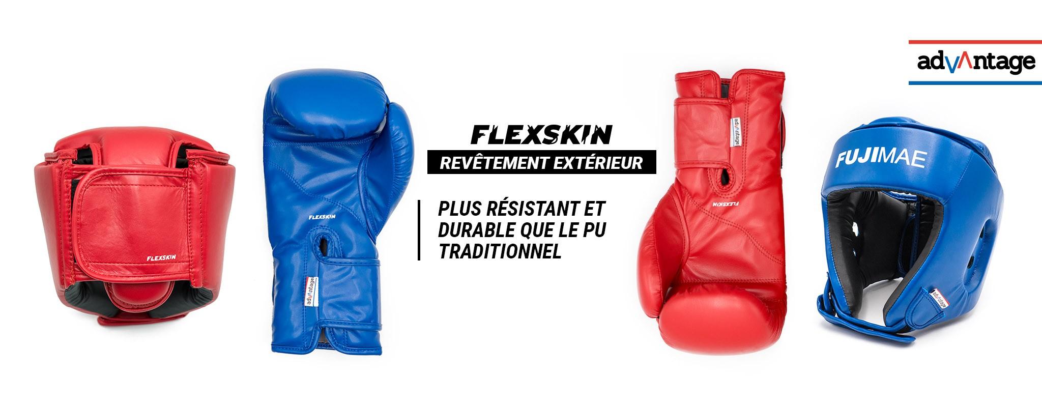 Protections Flexskin. Gants de Boxe et Casque Ouvert