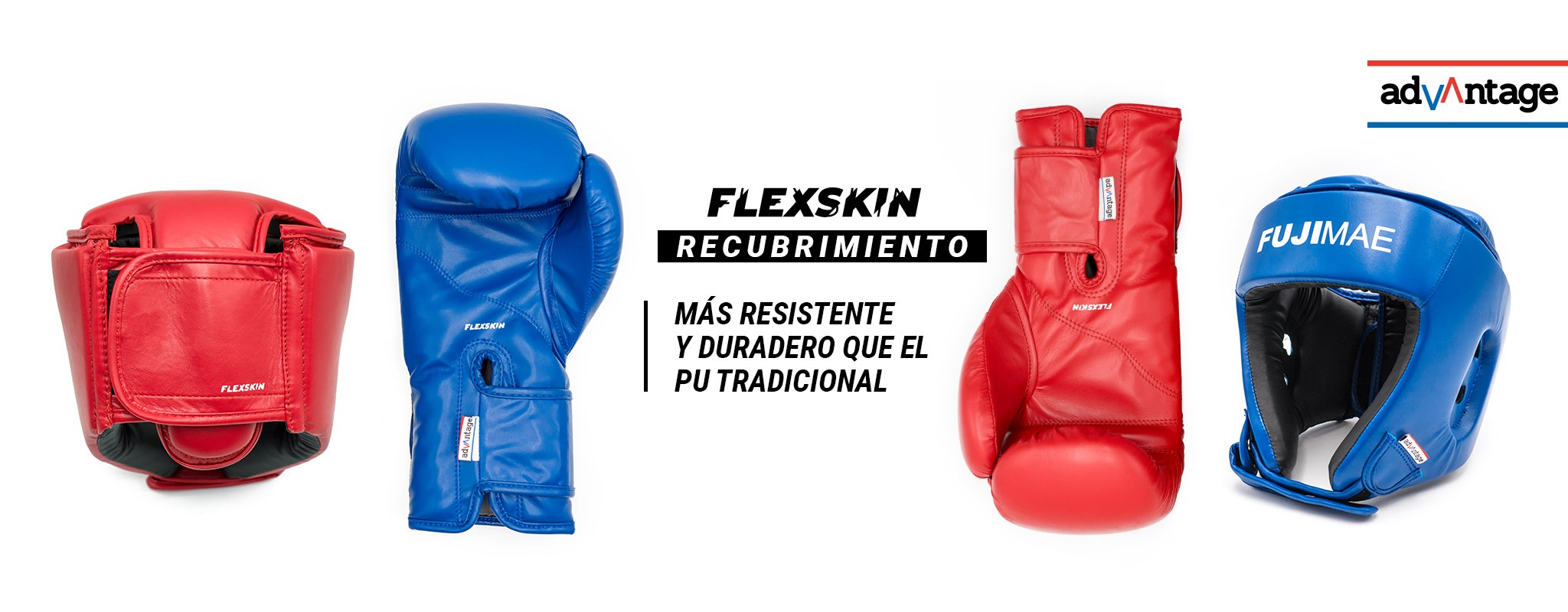 Protecciones Flexskin. Guantes de Boxeo y Casco Abierto.